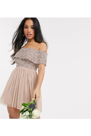 Maya Bridesmaid off shoulder mini tulle dress with tonal delicate sequin in taupe blush