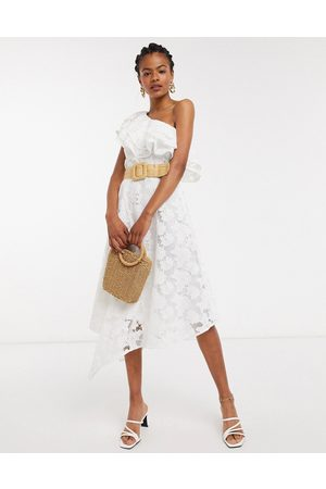& OTHER STORIES & embroidered floral one shoulder ruffle dress in off -Cream