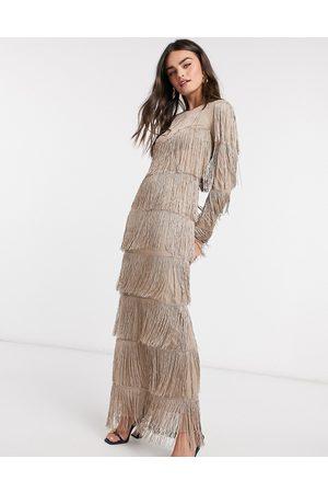 ASOS Long sleeve fringe column maxi dress in stone