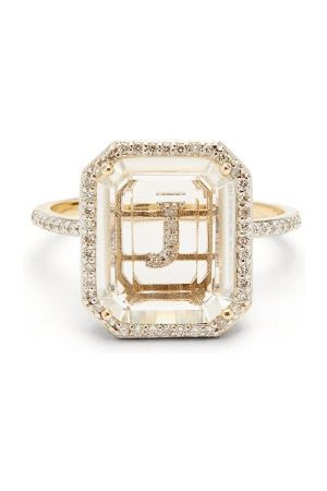 Mateo Initials Diamond, Quartz & 14kt Gold Ring J-q - Womens - Crystal