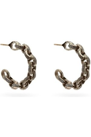 PATCHARAVIPA Women Earrings - Diamond & 18kt - Chain Hoop Earrings - Womens