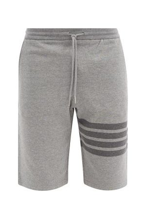 Thom Browne Four-bar Cotton-jersey Shorts - Mens - Grey