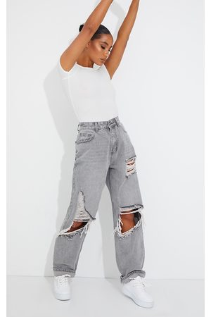 PRETTYLITTLETHING Washed Grey Open Knee Distressed Turn Up Boyfriend Jeans