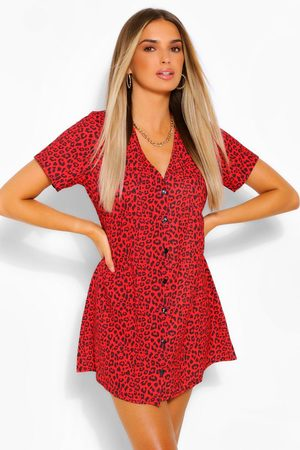 Boohoo Women Printed Dresses - Womens Leopard Print Button Shift Dress - - 4