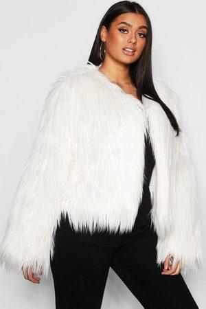 Boohoo Womens Plus Shaggy Faux Fur Jacket - - 12