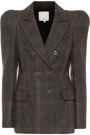 tibi Checked wool-blend blazer