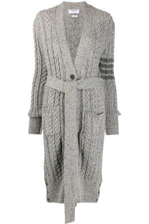 Thom Browne Women Cardigans - Aran cable-knit 4-Bar cardi-coat - Grey