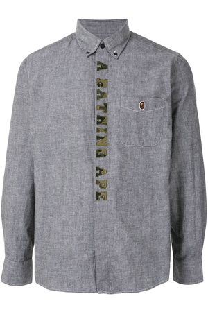 A BATHING APE® Embroidered logo button-down shirt - Grey