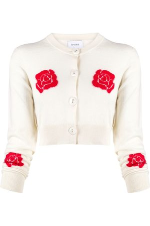 Barrie Roses intarsia cropped cardigan - Neutrals