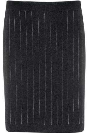 Barrie Striped cashmere mini skirt - Grey