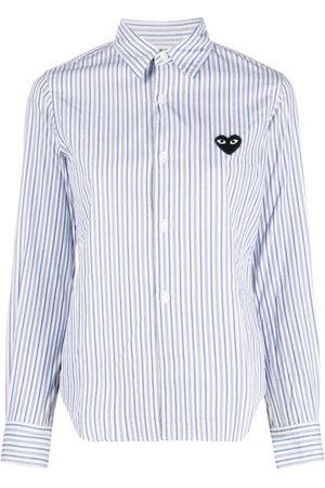 Comme des Garçons Heart-patch striped shirt