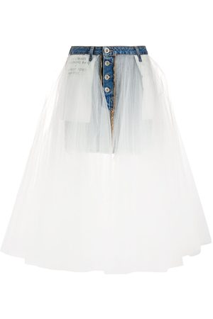 Unravel Project Stonewash denim tulle skirt