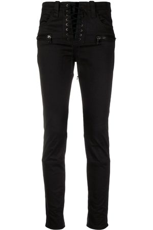 Unravel Project Lace-up cropped jeans