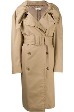 MM6 MAISON MARGIELA Scrunched lapel trench coat - Neutrals