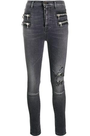 Unravel Project Distressed-effect zip-detail denim jeans - Grey