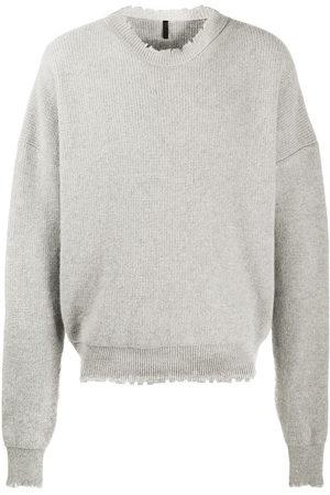 Unravel Project Men Sweatshirts - Distressed-edge ribbed jumper - Grey