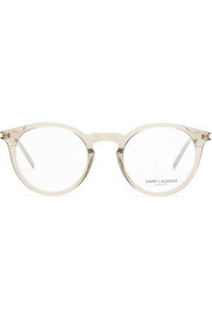 Saint Laurent Logo-engraved Round Acetate Glasses - Womens - Clear