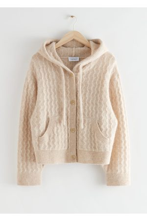 & OTHER STORIES Oversized Button Up Cable Knit Hoodie
