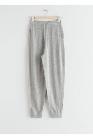 & OTHER STORIES Oversized Wool Knit Drawstring Trousers - Grey