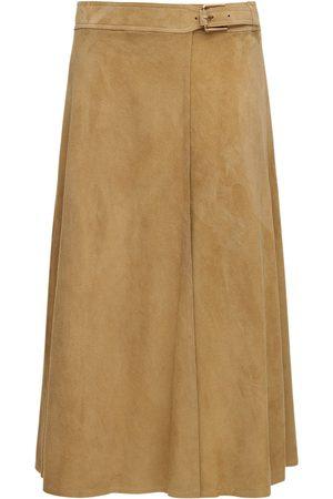 Ralph Lauren Wrap Suede Midi Skirt