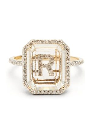 Mateo Women Rings - Initials Diamond, Quartz & 14kt Gold Ring R-z - Womens - Crystal