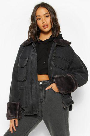 Boohoo Womens Denim Fur Collar Pocket Jean Jacket - - 4