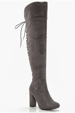 Boohoo Womens Lace Back Block Heel Over The Knee Boots - - 5