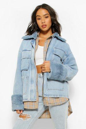 Boohoo Women Denim Jackets - Womens Denim Fur Collar Pocket Jean Jacket - - 2