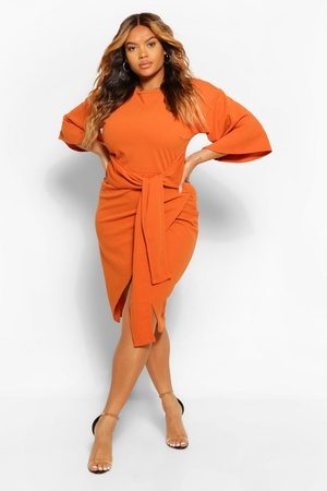Boohoo Womens Plus Kimono Sleeve Wrap Over Midi Dress - - 12