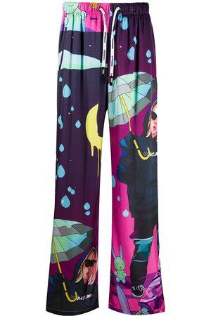 DUOltd Men Wide Leg Pants - Graphic print drawstring trousers