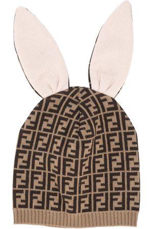 Fendi Jacquard FF-motif bunny beanie