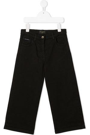 Dolce & Gabbana Girls Wide Leg - Logo-patch wide-leg jeans