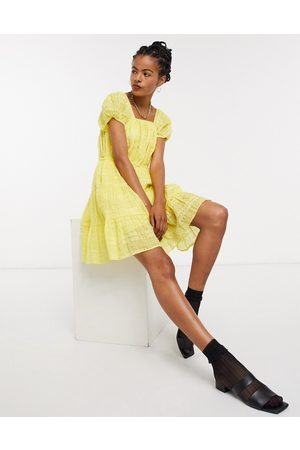 & OTHER STORIES & eco cotton square neck smock dress in yellow