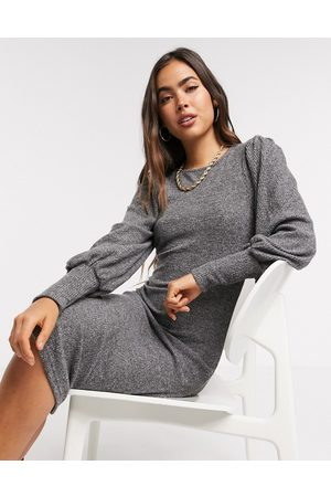 Y.A.S Knitted midi dress with high neck in