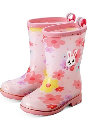 Miki House Girls' Flower Print Rain Boots Toddler, Walker