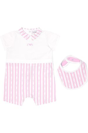 Emporio Armani Baby striped cotton onesie and bib set