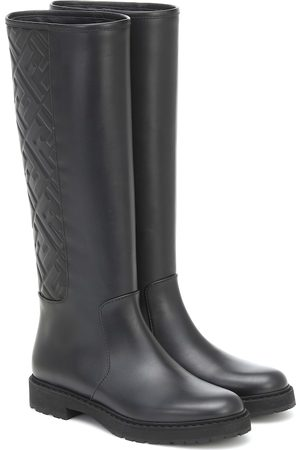 Fendi FF embossed leather knee-high boots