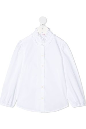Il gufo Ruffle neck curved hem shirt