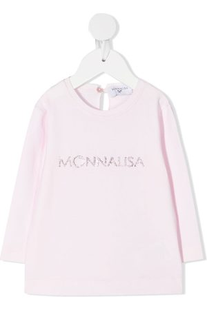 MONNALISA Long Sleeve - Rhinestone logo long-sleeved T-shirt