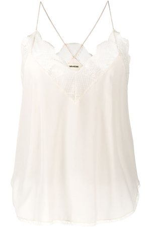 Zadig & Voltaire Christy lace-trimmed silk top - Neutrals