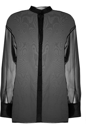 Ami Sheer mandarin collar blouse