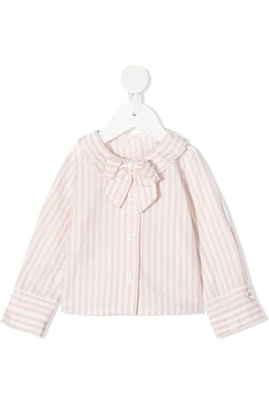 Lapin House Striped bow shirt