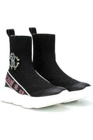 Roberto Cavalli Rhinestone logo sock-style sneakers