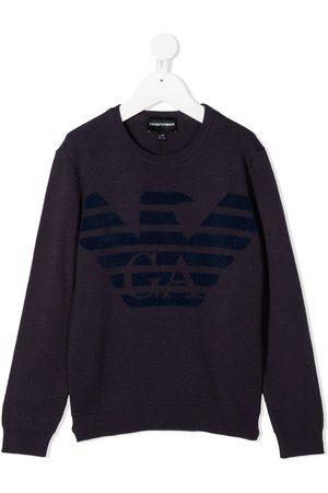 Emporio Armani Kids Boys Sweaters - Logo print jumper