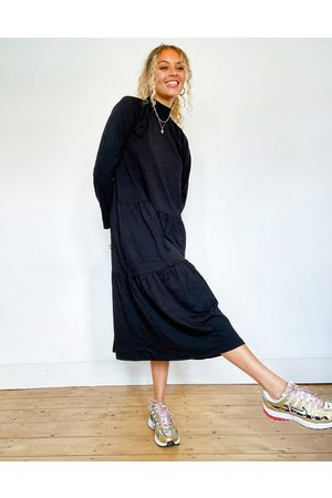 ASOS Smock midi dress with tiered hem in