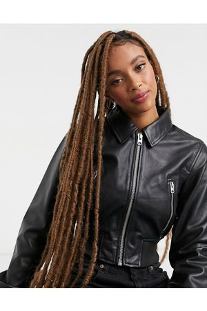 Topshop Premium leather bomber jacket in