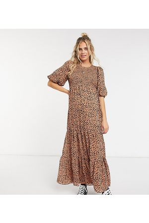 ASOS ASOS DESIGN Maternity shirred tiered maxi dress in mono polka dot-Multi