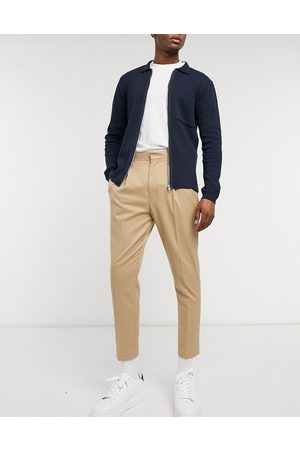 ASOS Tapered smart pants in stone-Neutral