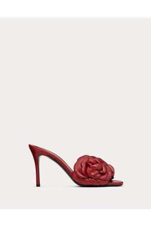 VALENTINO GARAVANI Atelier Shoe Kidskin Slide Sandal With Petals 90 Mm Women Rosso Valentino Lambskin 100% 35.5