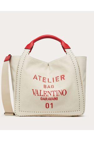 VALENTINO GARAVANI Atelier Bag 01 Canvas Tote With Micro Studs Women Multicolored Linen 48%, Cotton 48%, Polyurethane 4% OneSize